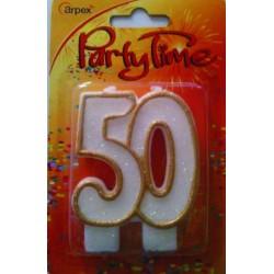 Świeczka numerek 40 z brokatem złota