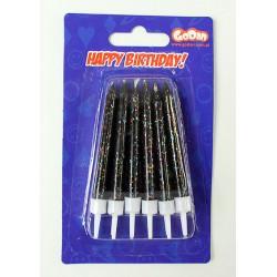 Świeczki urodzinowe Czerwone Brokatowe12szt