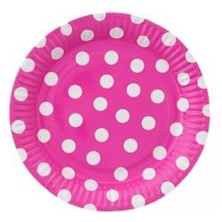 Talerzyki Papierowy groszki różowe 6 szt  18cm