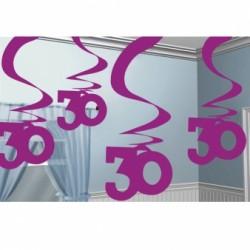 Dekoracja 30 różowa wisząca  / 5 szt /60 cm