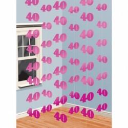 Dekoracja 40 różowa / 6 zestawów po 2 m