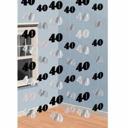 Dekoracja 40 srebrno - czarna / 6 zestawów po 2 m