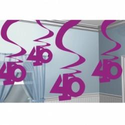 Dekoracja 40 różowa wisząca  / 5 szt /60 cm