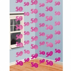 Dekoracja 50 różowa / 6 zestawów po 2 m