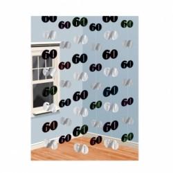 Dekoracja 60 srebrno - czarna / 6 zestawów po 2 m
