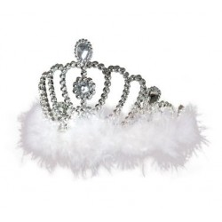 Diadem księżniczki z białym puszkiem