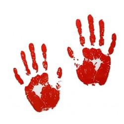Krwawe Ślady Ręce 6 szt