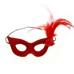 Maska z kwiatem i piórkiem czerwona