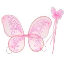 Zestaw Motylek różowy (skrzydełka, różdżka)
