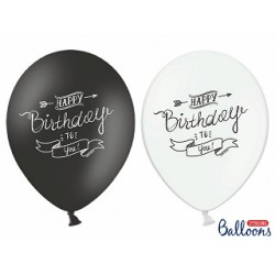 Balon Happy Birthday  biały i czarny mix  1 szt