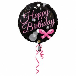 B Foliowy Happy Birthday czarny róż 18''