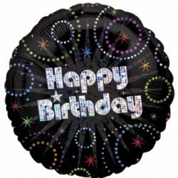 B Foliowy Happy Birthday czarny holo 18''