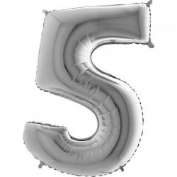 B Foliowy Numer 5 srebrny