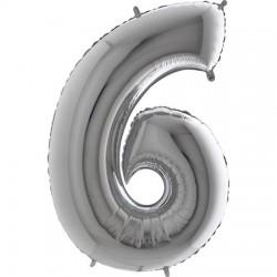 B Foliowy Numer 6 srebrny