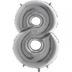 B Foliowy Numer 8 srebrny