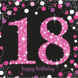 Serwetki różowe 18 urodziny 9900579