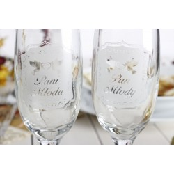 Zestaw 2 kieliszków do szampana Pan Młody i Pani Młoda