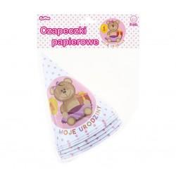Czapeczki papierowe moje 1 urodziny róż