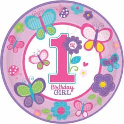 Talerzyki Papierowy roczek dziewczynka 998108