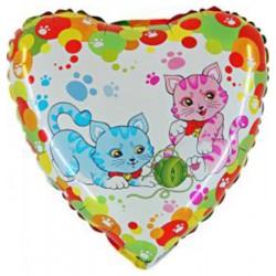 Balon 18'' Kotki róż niebieski Grabo