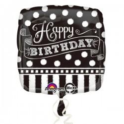 Happy Birthday  Czarno biały  18''